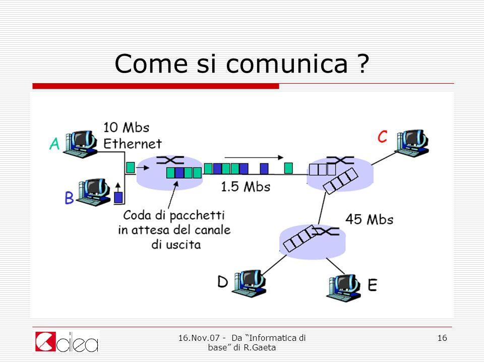 16.Nov.07 - Da Informatica di base di R.Gaeta 16 Come si comunica