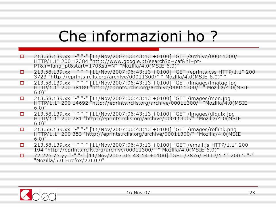 16.Nov.0723 Che informazioni ho .