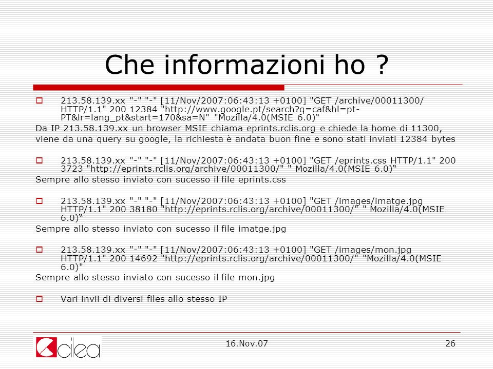 16.Nov.0726 Che informazioni ho .