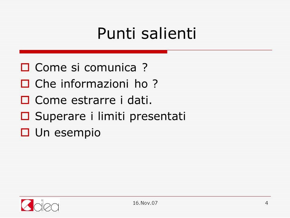 16.Nov.074 Punti salienti Come si comunica . Che informazioni ho .
