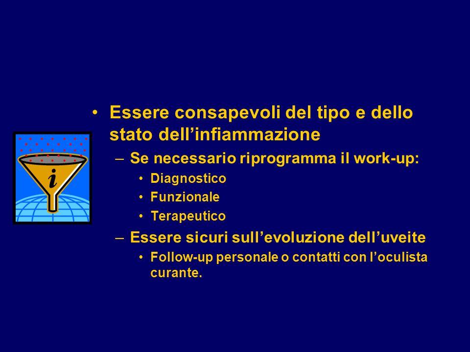 Essere consapevoli del tipo e dello stato dellinfiammazione –Se necessario riprogramma il work-up: Diagnostico Funzionale Terapeutico –Essere sicuri s