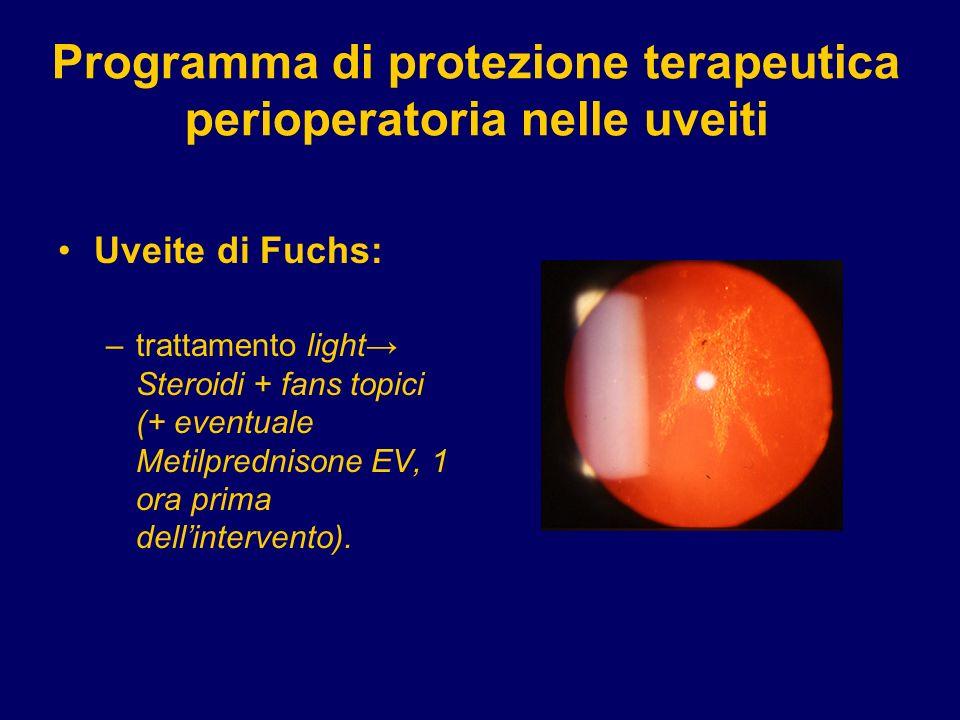 Programma di protezione terapeutica perioperatoria nelle uveiti Uveite di Fuchs: –trattamento light Steroidi + fans topici (+ eventuale Metilprednison
