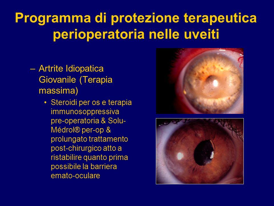 Programma di protezione terapeutica perioperatoria nelle uveiti –Artrite Idiopatica Giovanile (Terapia massima) Steroidi per os e terapia immunosoppre