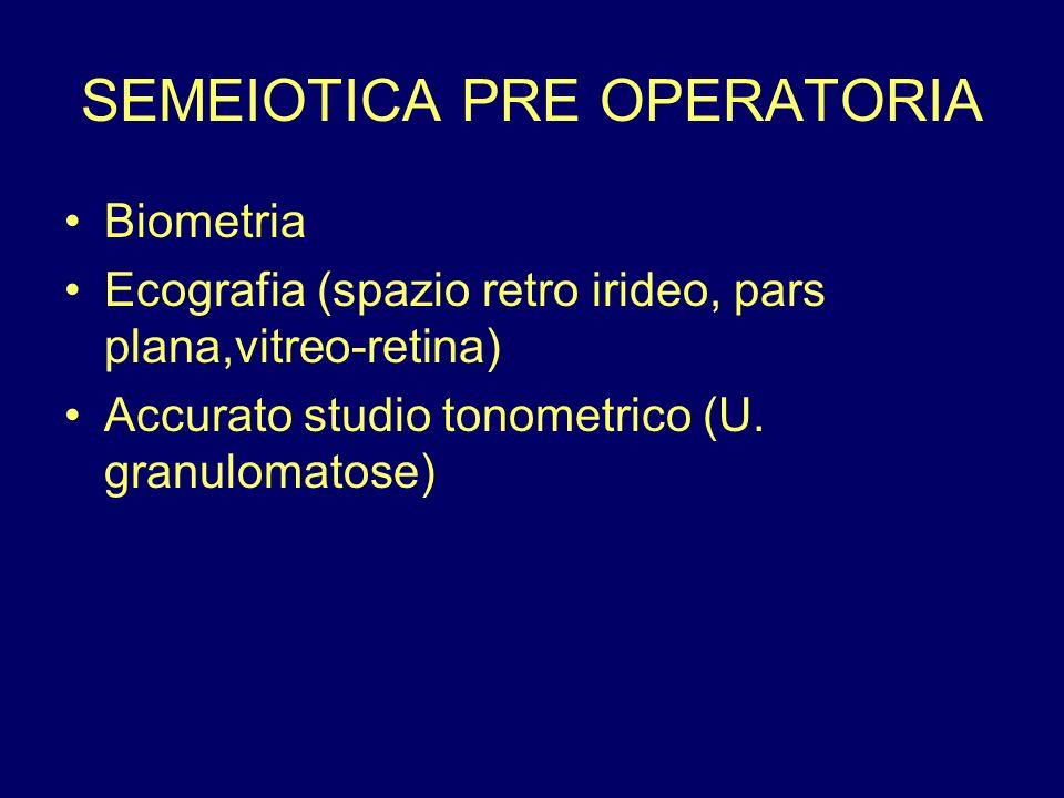 SEMEIOTICA PRE OPERATORIA Biometria Ecografia (spazio retro irideo, pars plana,vitreo-retina) Accurato studio tonometrico (U. granulomatose)