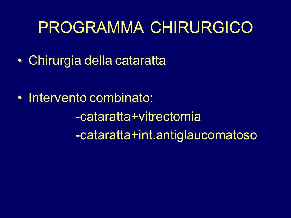 PROGRAMMA CHIRURGICO Chirurgia della cataratta Intervento combinato: -cataratta+vitrectomia -cataratta+int.antiglaucomatoso