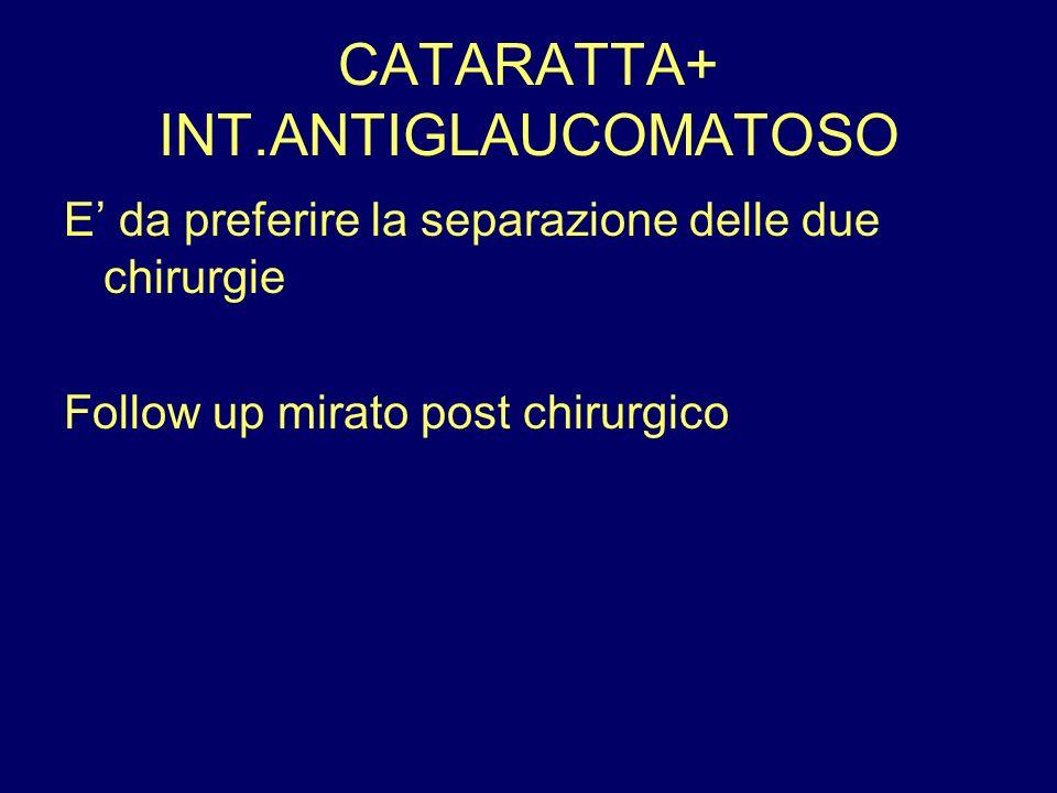 CATARATTA+ INT.ANTIGLAUCOMATOSO E da preferire la separazione delle due chirurgie Follow up mirato post chirurgico