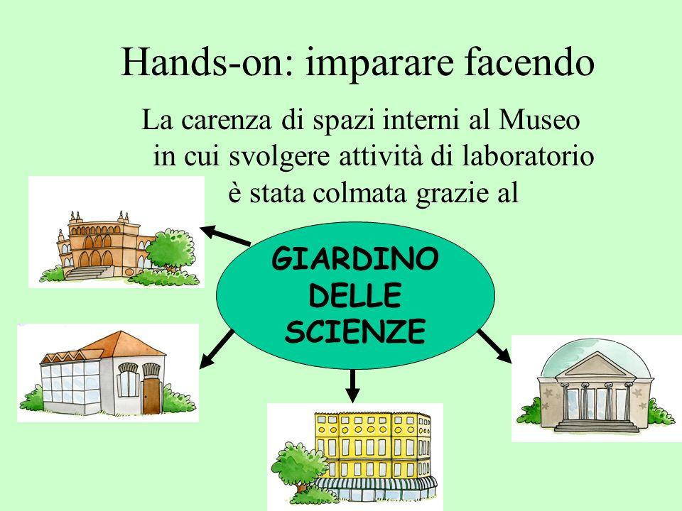 Hands-on: imparare facendo La carenza di spazi interni al Museo in cui svolgere attività di laboratorio è stata colmata grazie al GIARDINO DELLE SCIENZE