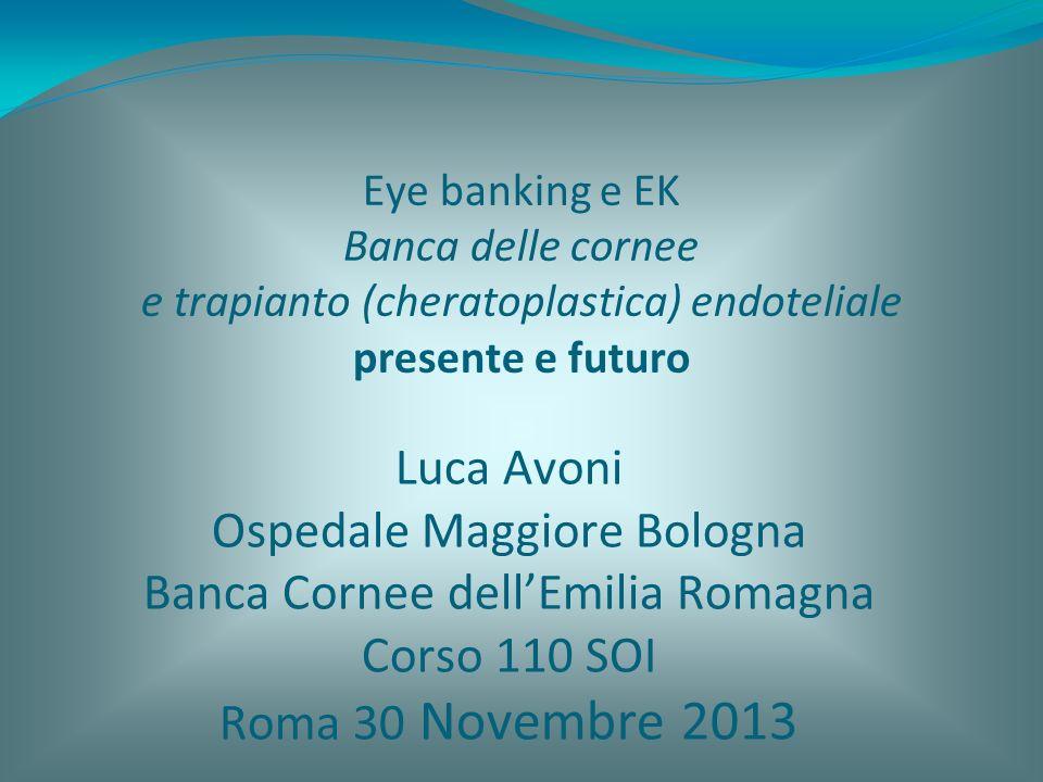 Eye banking e EK Banca delle cornee e trapianto (cheratoplastica) endoteliale presente e futuro Luca Avoni Ospedale Maggiore Bologna Banca Cornee dell