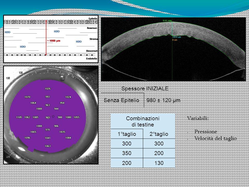 Spessore INIZIALE Senza Epitelio980 ± 120 µm Combinazioni di testine 1°taglio2°taglio 300 350200 130 Variabili: - Pressione - Velocità del taglio