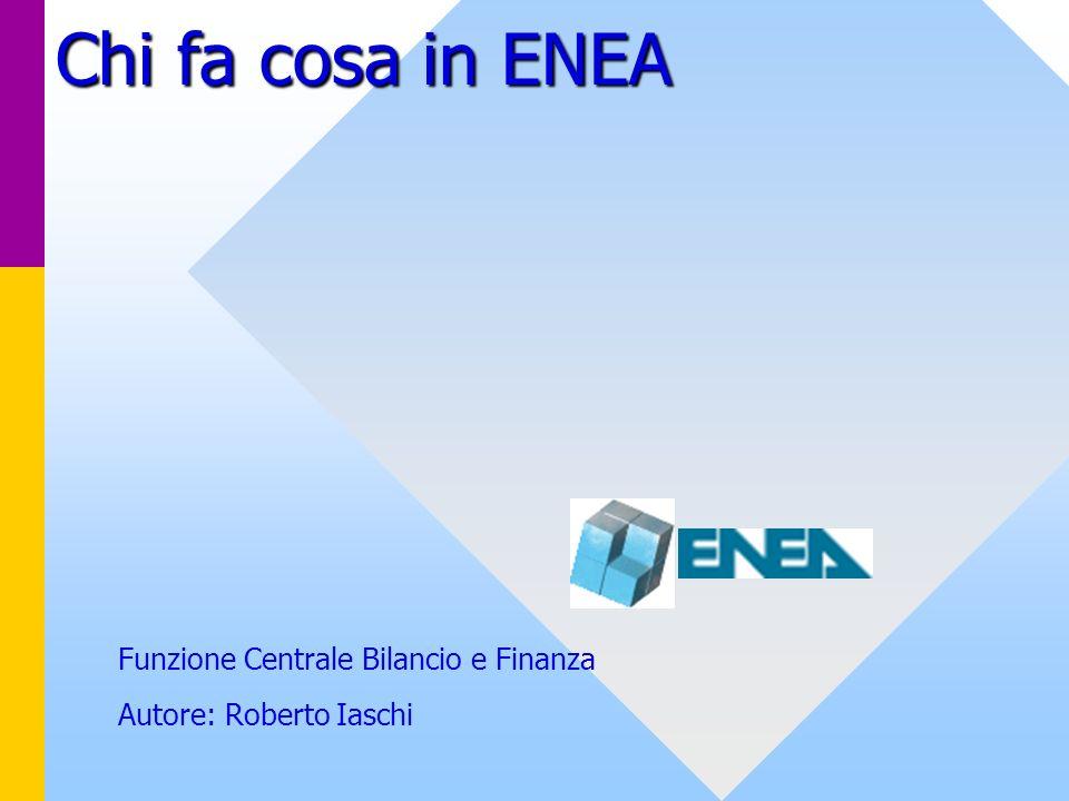 Chi fa cosa in ENEA Funzione Centrale Bilancio e Finanza Autore: Roberto Iaschi