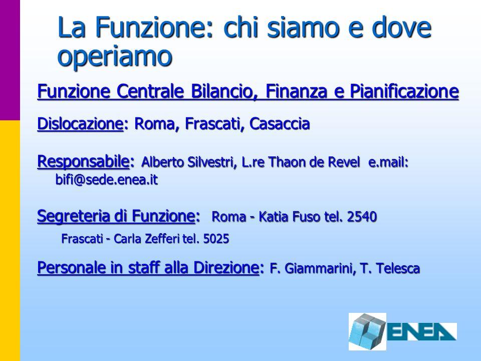 La Funzione: chi siamo e dove operiamo Funzione Centrale Bilancio, Finanza e Pianificazione Dislocazione: Roma, Frascati, Casaccia Responsabile: Alber