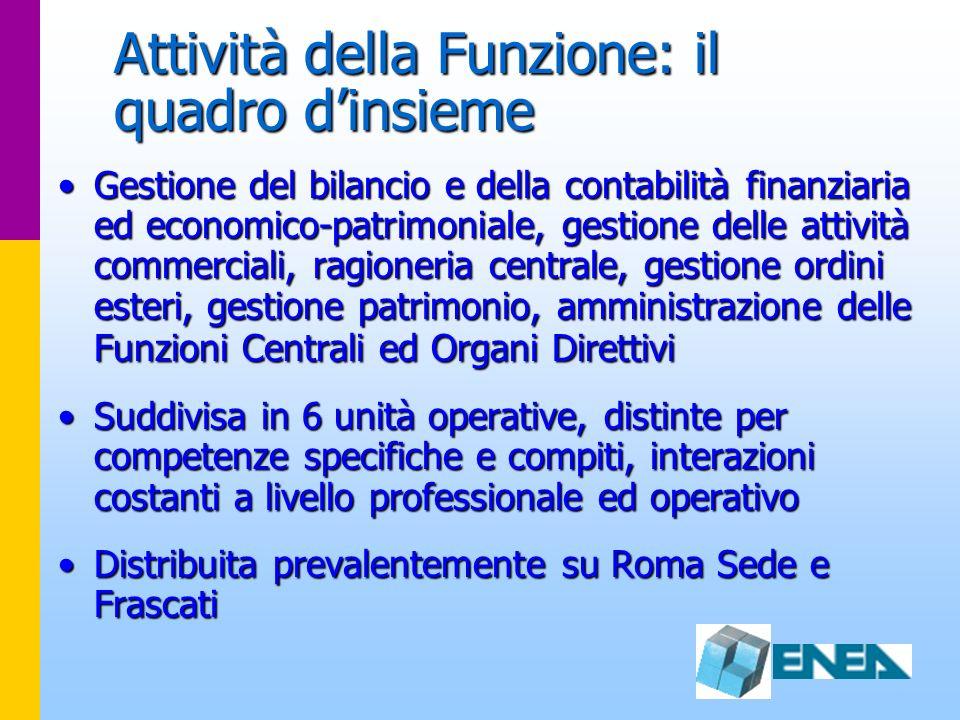Attività della Funzione: il quadro dinsieme Gestione del bilancio e della contabilità finanziaria ed economico-patrimoniale, gestione delle attività c