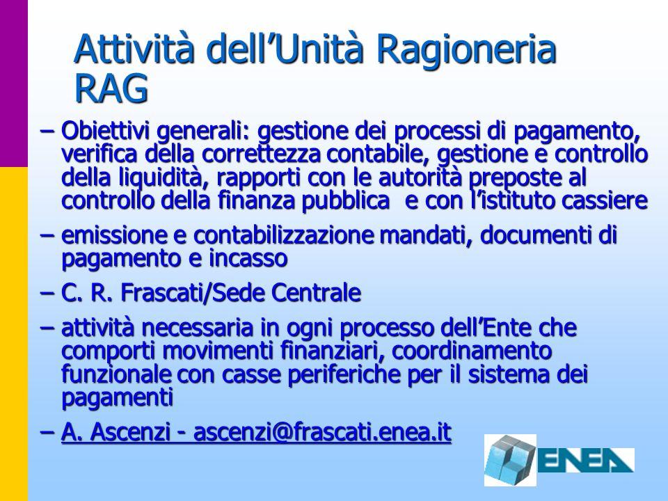 Attività dellUnità Ragioneria RAG –Obiettivi generali: gestione dei processi di pagamento, verifica della correttezza contabile, gestione e controllo