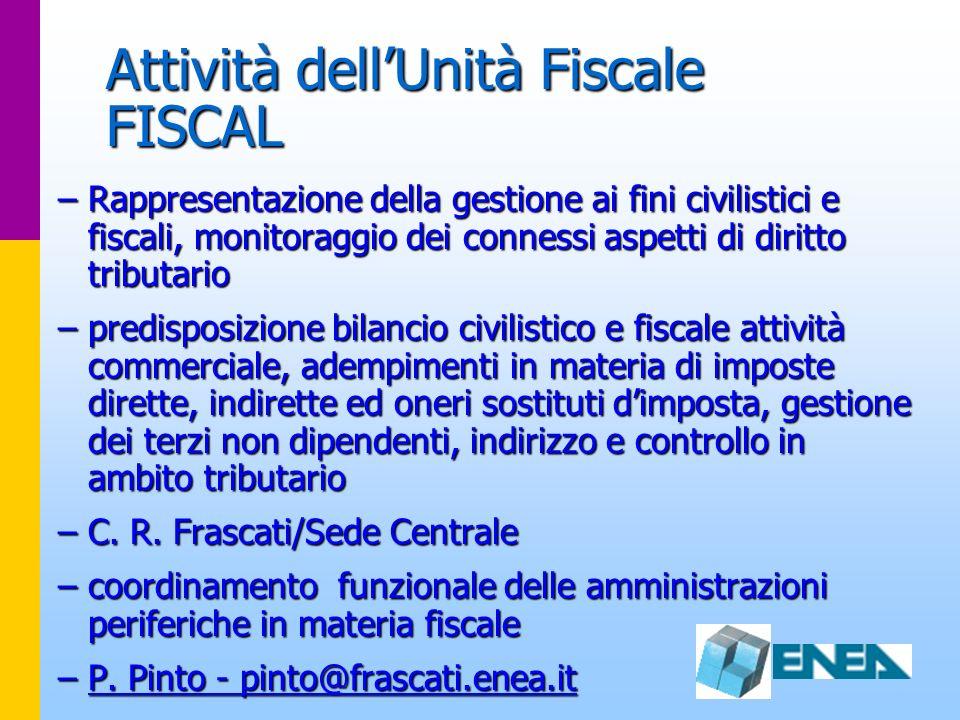 Attività dellUnità Fiscale FISCAL –Rappresentazione della gestione ai fini civilistici e fiscali, monitoraggio dei connessi aspetti di diritto tributa