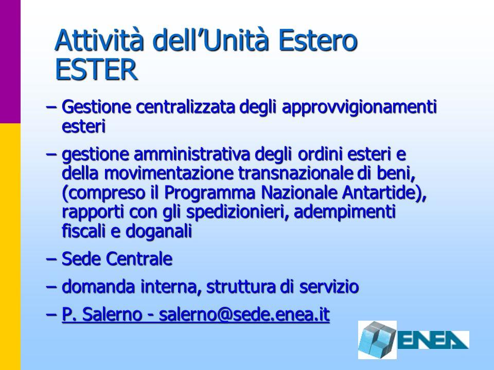Attività dellUnità Estero ESTER –Gestione centralizzata degli approvvigionamenti esteri –gestione amministrativa degli ordini esteri e della movimenta