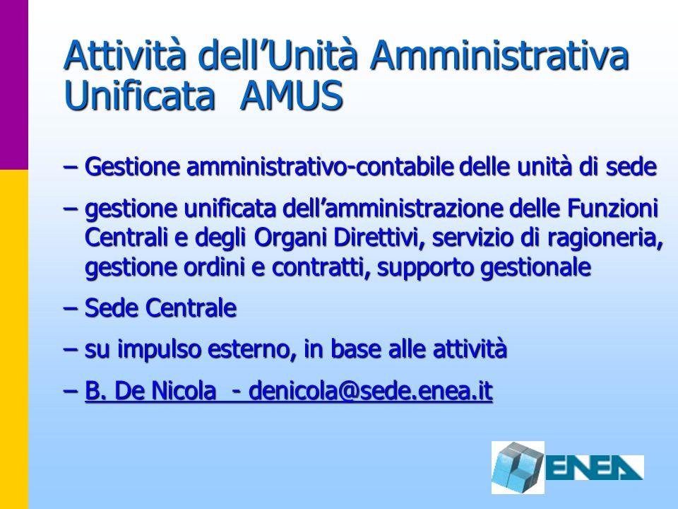 Attività dellUnità Amministrativa Unificata AMUS –Gestione amministrativo-contabile delle unità di sede –gestione unificata dellamministrazione delle