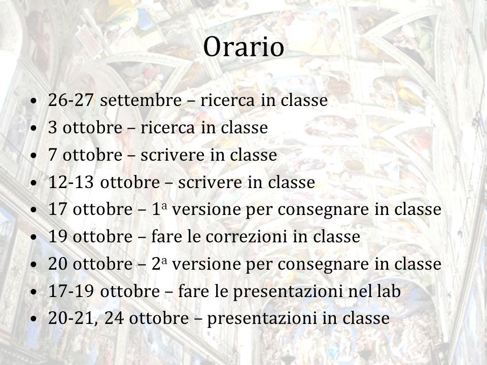 Richieste Un tema in italiano di almeno 400 parole 12-point Times New Roman, 1-inch margins, double spaced Una presentazione PowerPoint con massimo 5 parole per diapositiva