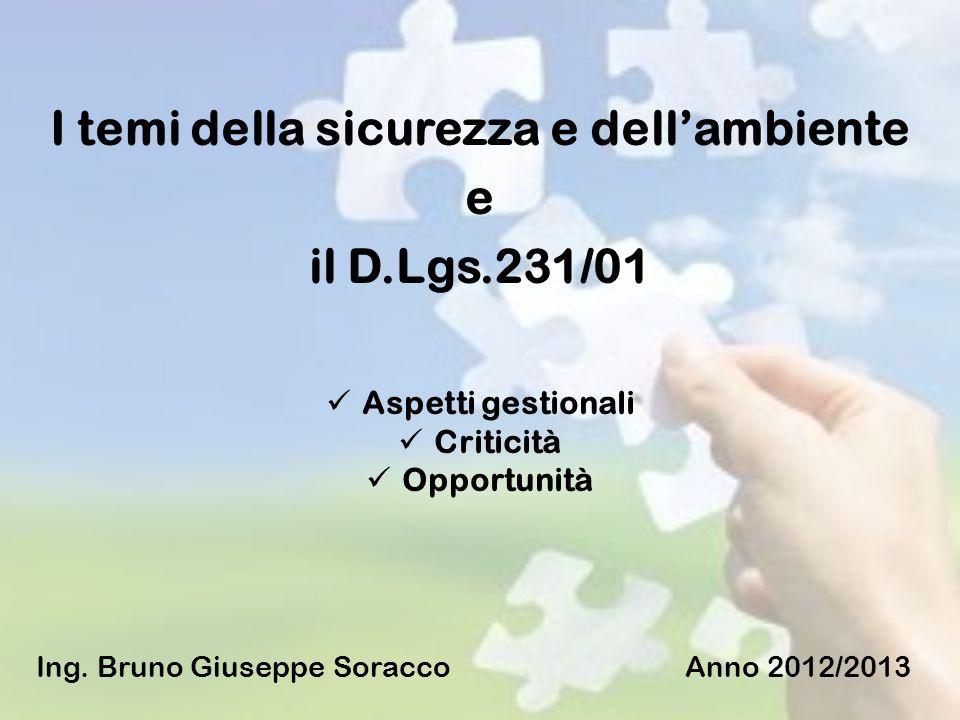 I temi della sicurezza e dellambiente e il D.Lgs.231/01 Aspetti gestionali Criticità Opportunità Ing. Bruno Giuseppe Soracco Anno 2012/2013