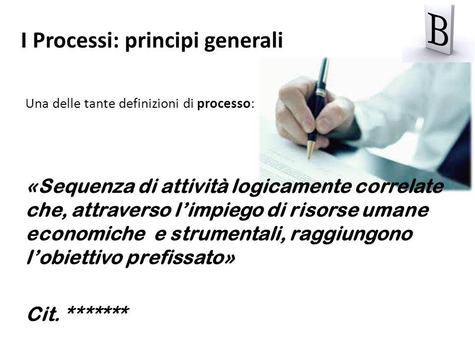 I Processi: principi generali Una delle tante definizioni di processo: «Sequenza di attività logicamente correlate che, attraverso limpiego di risorse