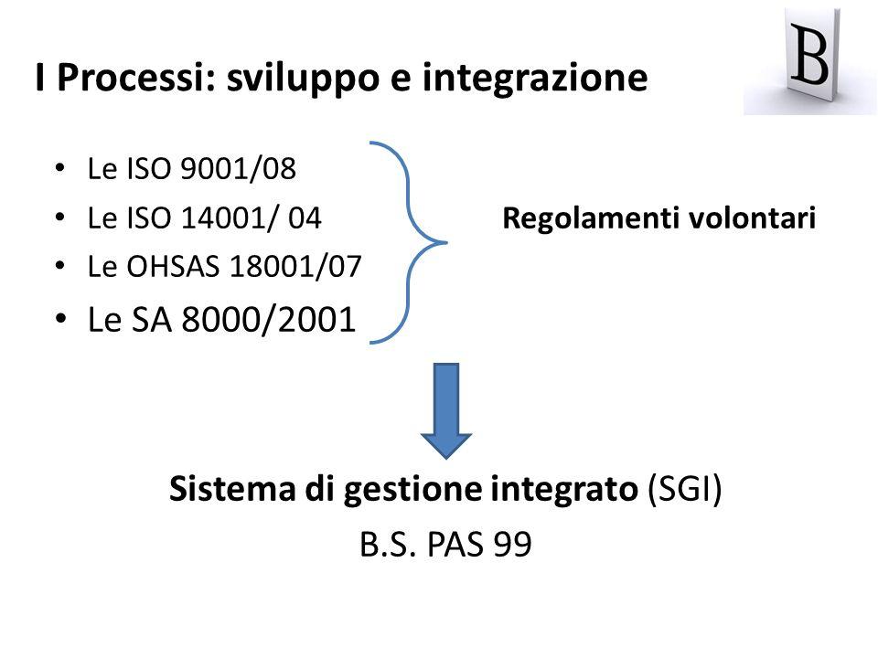 Le ISO 9001/08 Le ISO 14001/ 04 Regolamenti volontari Le OHSAS 18001/07 Le SA 8000/2001 Sistema di gestione integrato (SGI) B.S. PAS 99 I Processi: sv