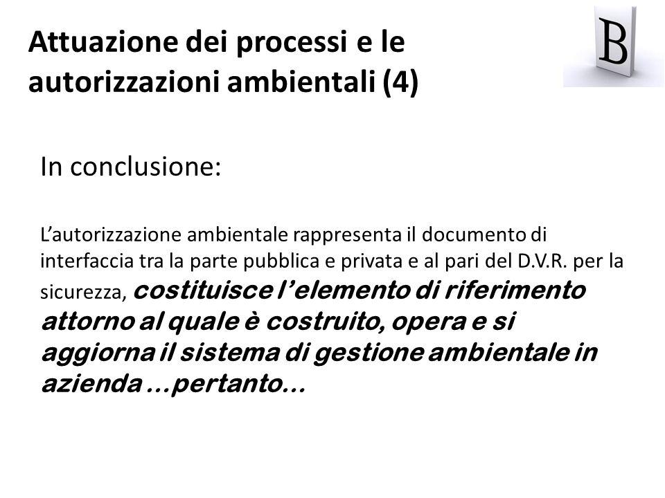 In conclusione: Lautorizzazione ambientale rappresenta il documento di interfaccia tra la parte pubblica e privata e al pari del D.V.R. per la sicurez