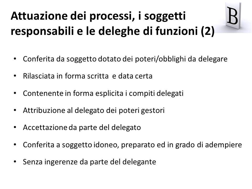 Conferita da soggetto dotato dei poteri/obblighi da delegare Rilasciata in forma scritta e data certa Contenente in forma esplicita i compiti delegati
