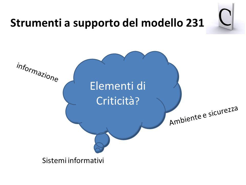 informazione Sistemi informativi Ambiente e sicurezza Elementi di Criticità ? Strumenti a supporto del modello 231