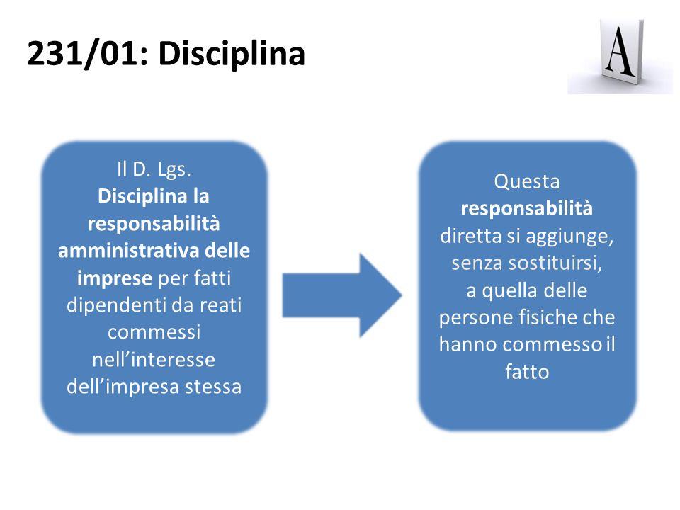 231/01: Disciplina Il D. Lgs. Disciplina la responsabilità amministrativa delle imprese per fatti dipendenti da reati commessi nellinteresse dellimpre