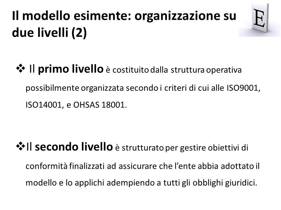 Il primo livello è costituito dalla struttura operativa possibilmente organizzata secondo i criteri di cui alle ISO9001, ISO14001, e OHSAS 18001. Il s