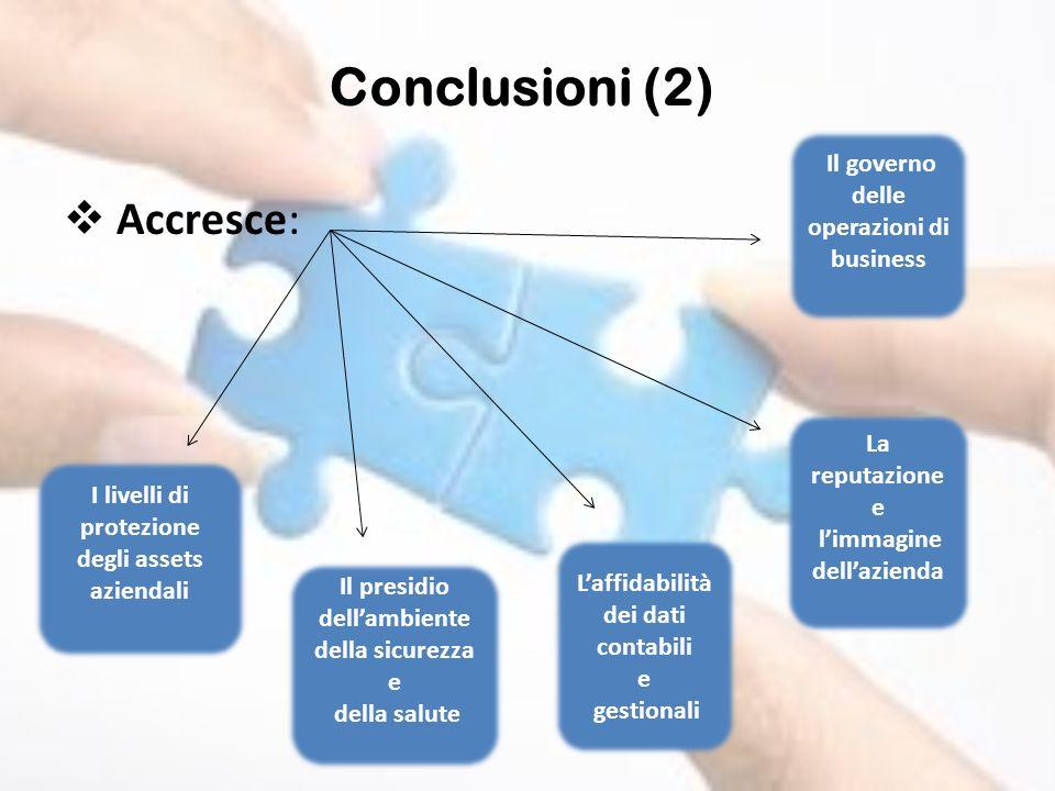 Accresce: Conclusioni (2) I livelli di protezione degli assets aziendali Il presidio dellambiente della sicurezza e della salute Laffidabilità dei dat
