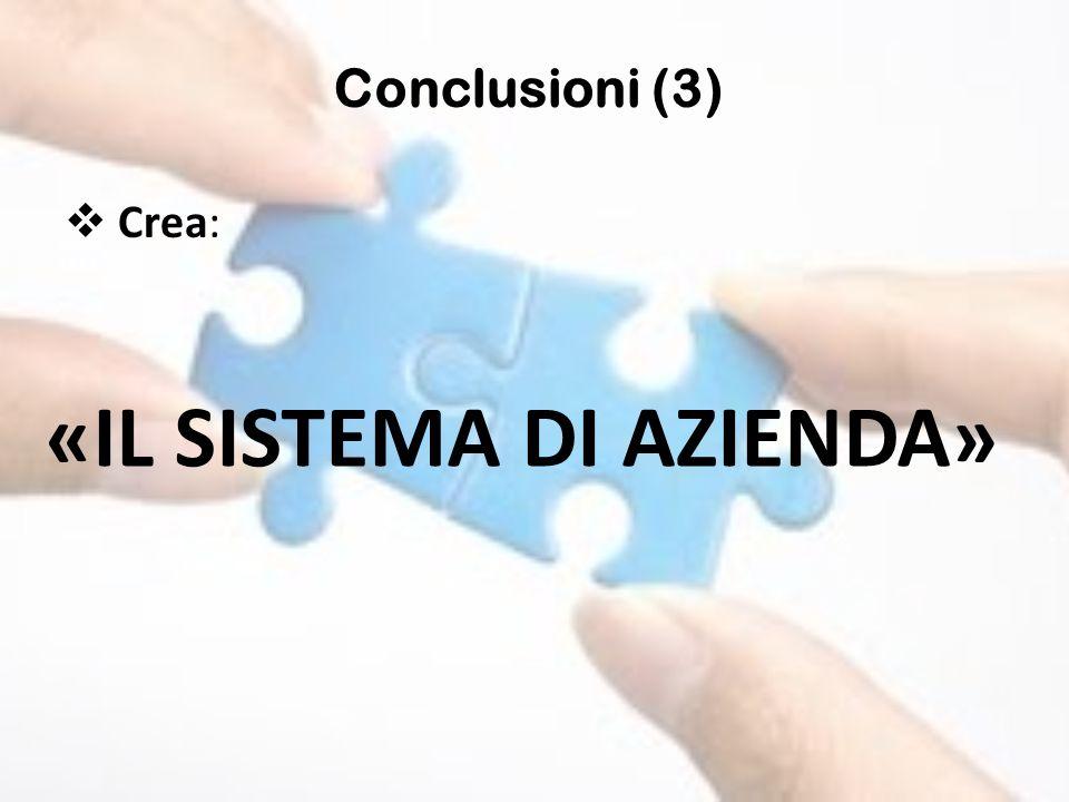 Crea: Conclusioni (3) «IL SISTEMA DI AZIENDA»