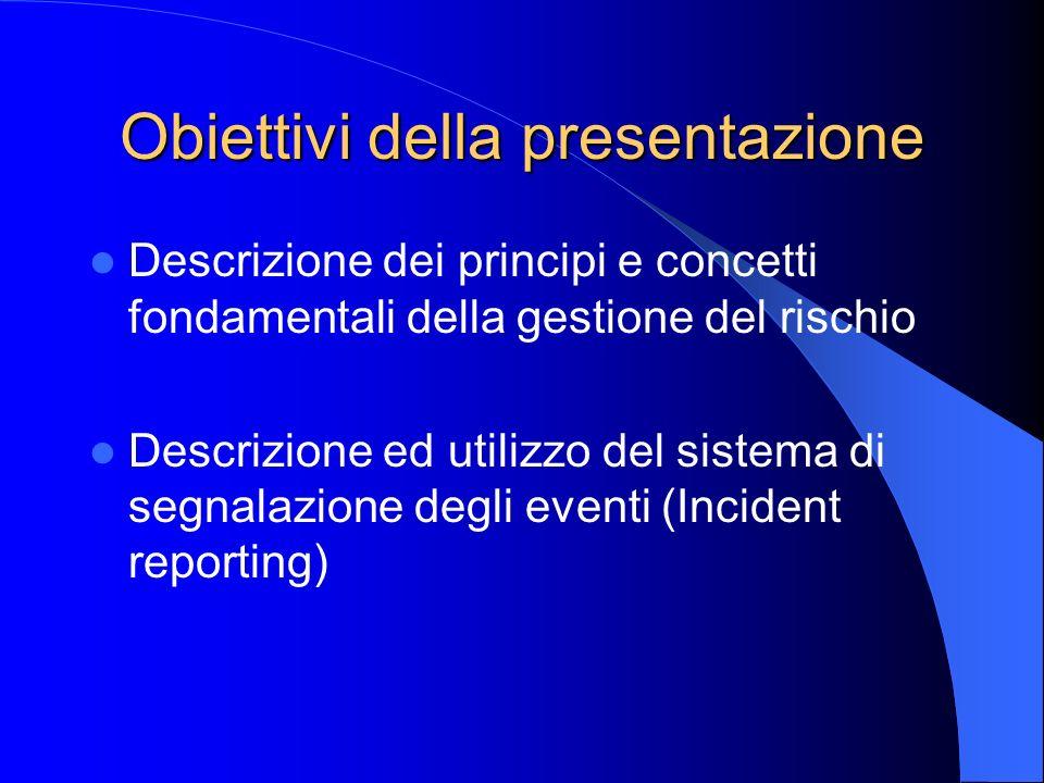 Obiettivi della presentazione Descrizione dei principi e concetti fondamentali della gestione del rischio Descrizione ed utilizzo del sistema di segna