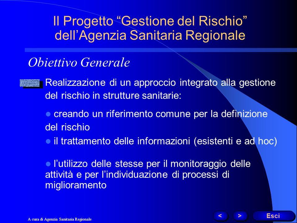 Obiettivo Generale Il Progetto Gestione del Rischio dellAgenzia Sanitaria Regionale Realizzazione di un approccio integrato alla gestione del rischio