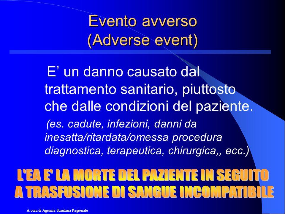 Evento avverso (Adverse event) E un danno causato dal trattamento sanitario, piuttosto che dalle condizioni del paziente. (es. cadute, infezioni, dann