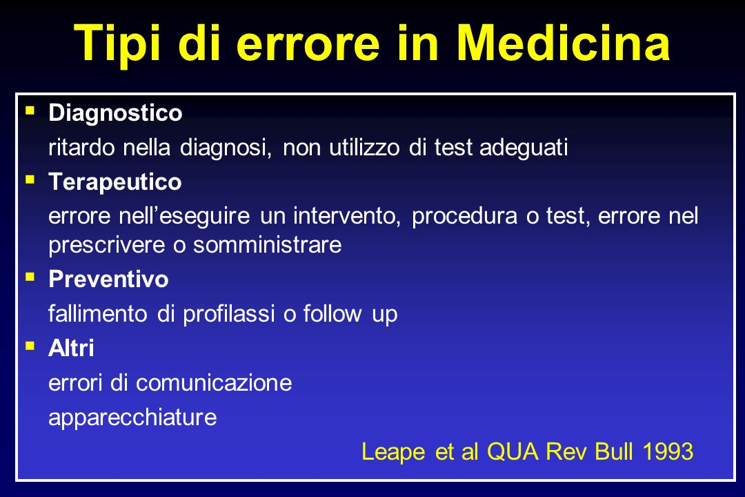 Tipi di errore in Medicina Diagnostico ritardo nella diagnosi, non utilizzo di test adeguati Terapeutico errore nelleseguire un intervento, procedura o test, errore nel prescrivere o somministrare Preventivo fallimento di profilassi o follow up Altri errori di comunicazione apparecchiature Leape et al QUA Rev Bull 1993
