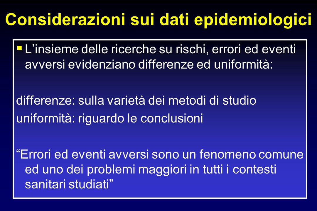 Considerazioni sui dati epidemiologici Linsieme delle ricerche su rischi, errori ed eventi avversi evidenziano differenze ed uniformità: differenze: s