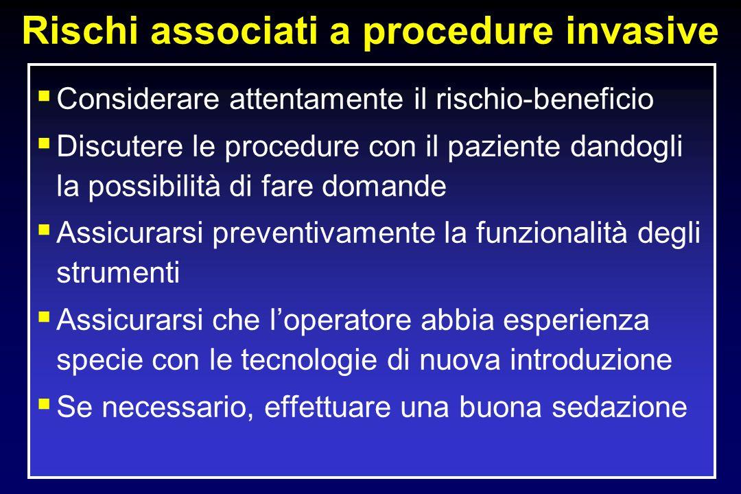 Rischi associati a procedure invasive Considerare attentamente il rischio-beneficio Discutere le procedure con il paziente dandogli la possibilità di
