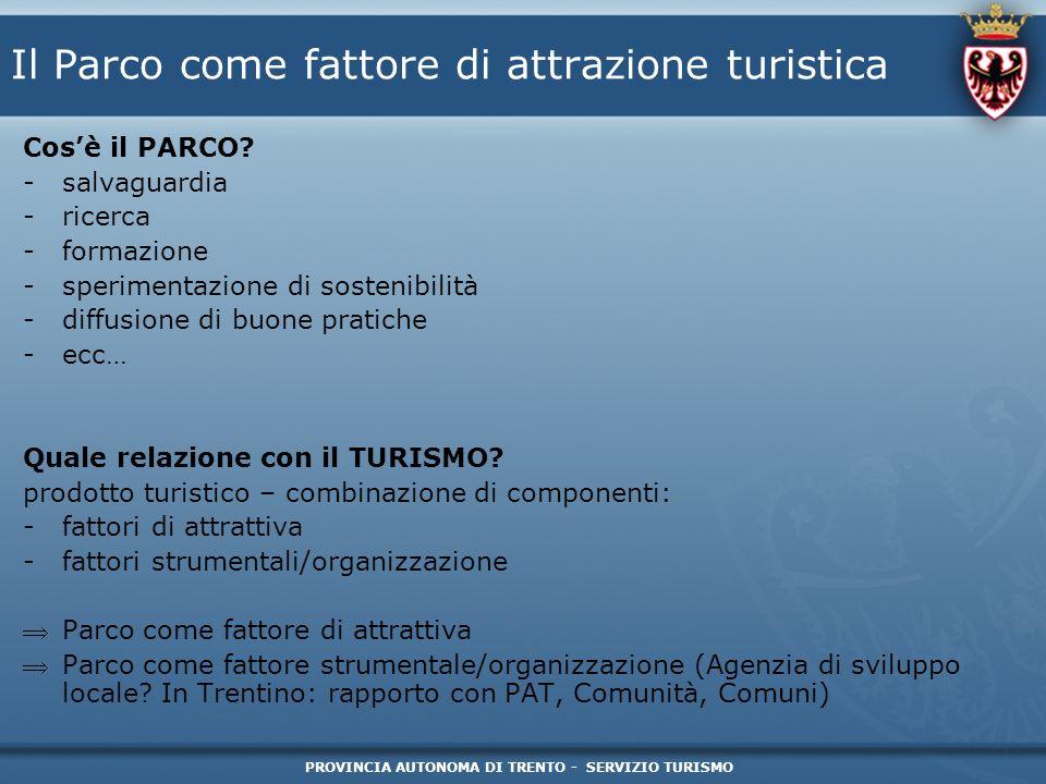 PROVINCIA AUTONOMA DI TRENTO - SERVIZIO TURISMO Il Parco come fattore di attrazione turistica Cosè il PARCO? -salvaguardia -ricerca -formazione -speri