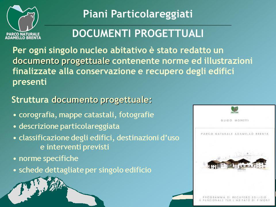 Piani Particolareggiati DOCUMENTI PROGETTUALI documento progettuale Per ogni singolo nucleo abitativo è stato redatto un documento progettuale contene