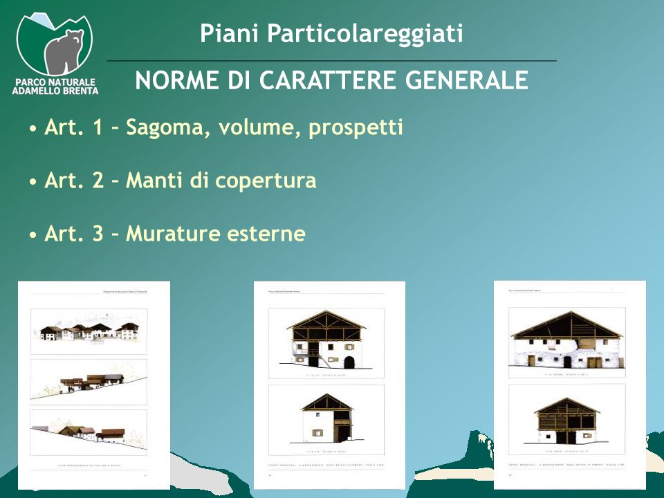 Piani Particolareggiati NORME DI CARATTERE GENERALE Art. 1 – Sagoma, volume, prospetti Art. 2 – Manti di copertura Art. 3 – Murature esterne