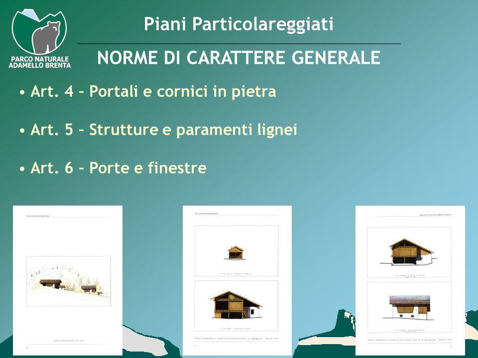 Piani Particolareggiati NORME DI CARATTERE GENERALE Art. 4 – Portali e cornici in pietra Art. 5 – Strutture e paramenti lignei Art. 6 – Porte e finest