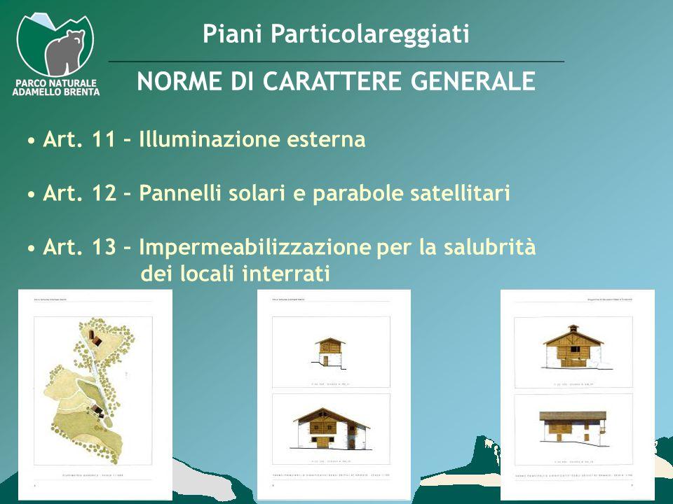 Piani Particolareggiati NORME DI CARATTERE GENERALE Art. 11 – Illuminazione esterna Art. 12 – Pannelli solari e parabole satellitari Art. 13 – Imperme