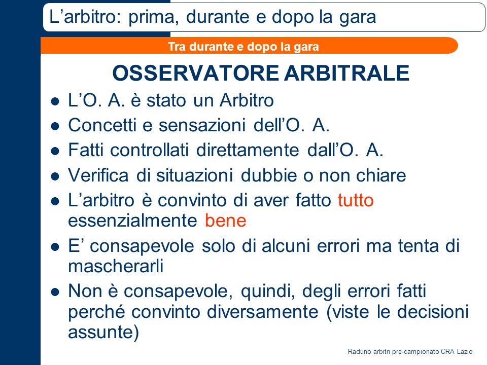Raduno arbitri pre-campionato CRA Lazio Larbitro: prima, durante e dopo la gara OSSERVATORE ARBITRALE LO.