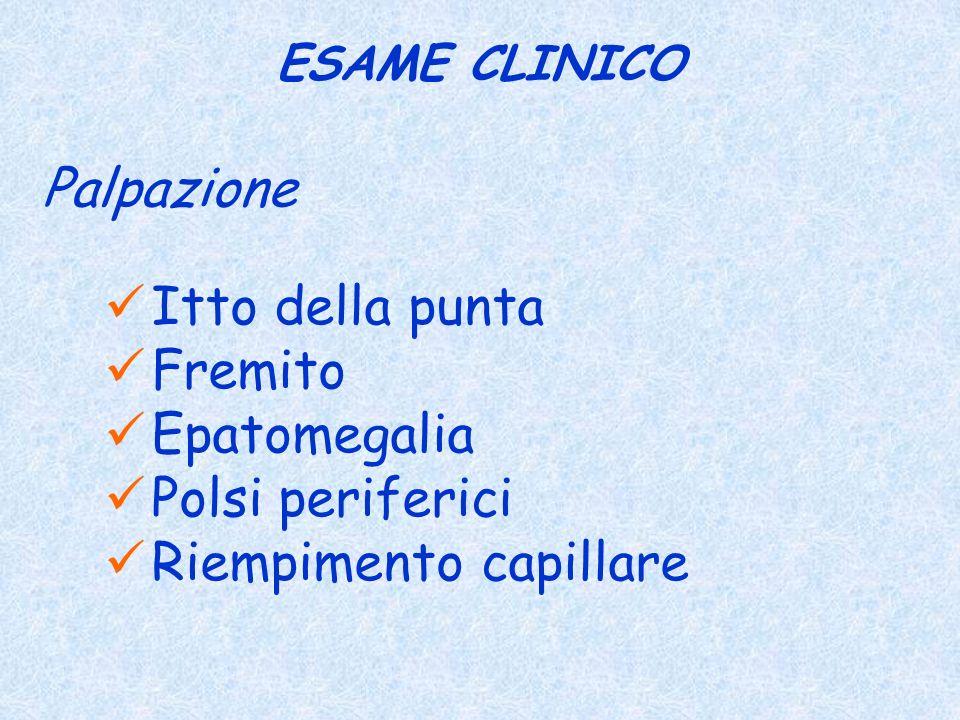 ESAME CLINICO Palpazione Itto della punta Fremito Epatomegalia Polsi periferici Riempimento capillare