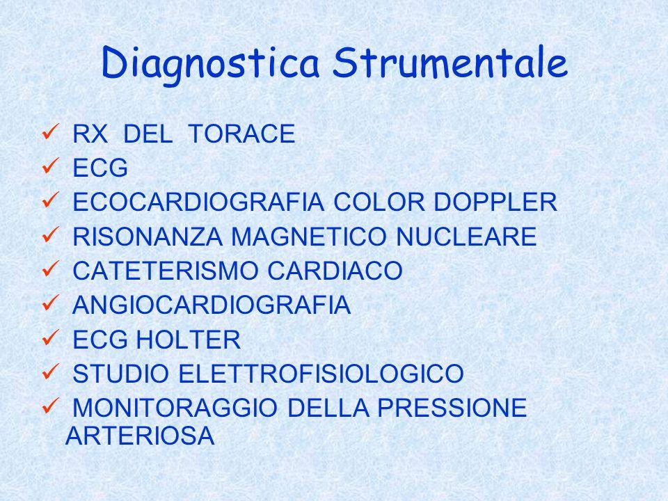 Diagnostica Strumentale RX DEL TORACE ECG ECOCARDIOGRAFIA COLOR DOPPLER RISONANZA MAGNETICO NUCLEARE CATETERISMO CARDIACO ANGIOCARDIOGRAFIA ECG HOLTER
