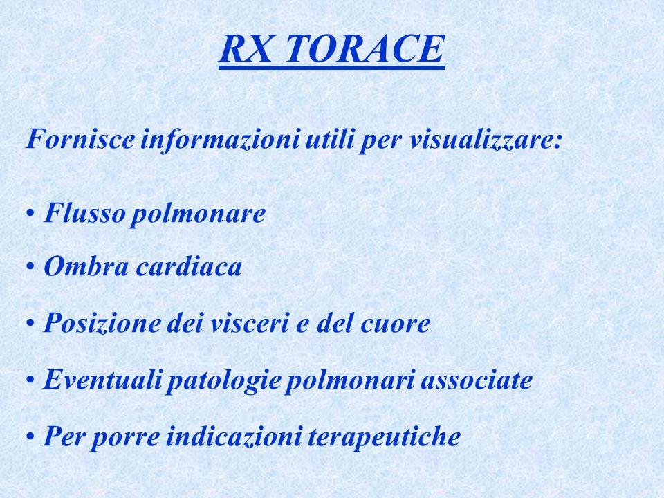 RX TORACE Fornisce informazioni utili per visualizzare: Flusso polmonare Ombra cardiaca Posizione dei visceri e del cuore Eventuali patologie polmonar