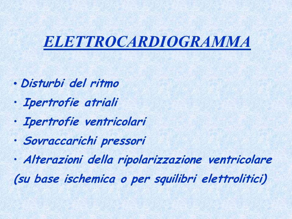 ELETTROCARDIOGRAMMA Disturbi del ritmo Ipertrofie atriali Ipertrofie ventricolari Sovraccarichi pressori Alterazioni della ripolarizzazione ventricola