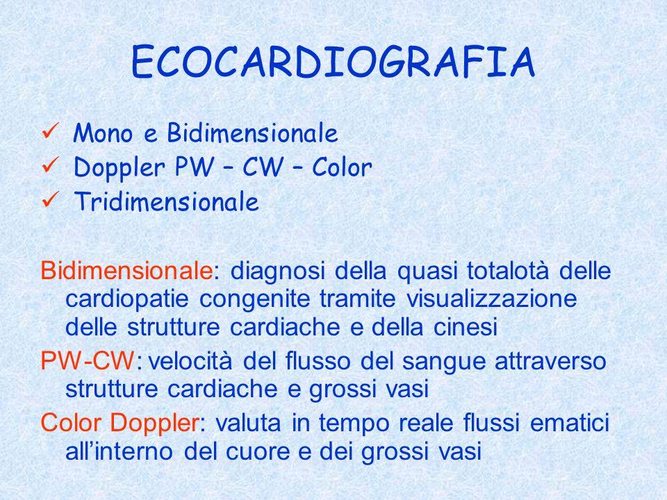 ECOCARDIOGRAFIA Mono e Bidimensionale Doppler PW – CW – Color Tridimensionale Bidimensionale: diagnosi della quasi totalotà delle cardiopatie congenit