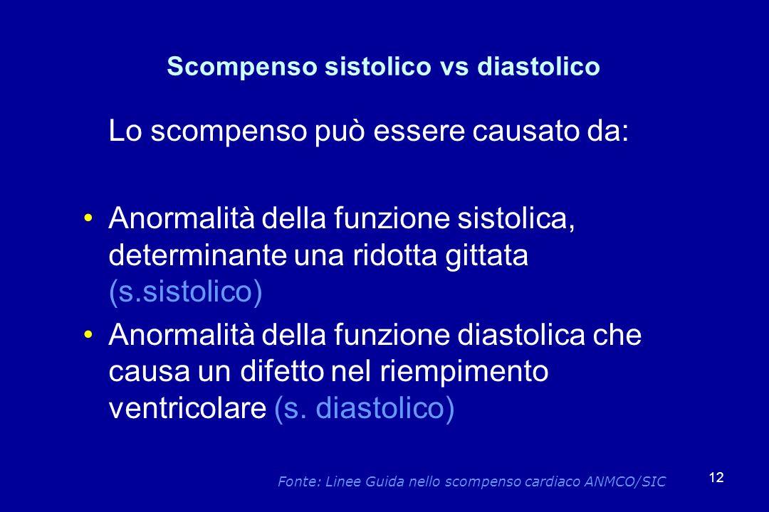 12 Scompenso sistolico vs diastolico Lo scompenso può essere causato da: Anormalità della funzione sistolica, determinante una ridotta gittata (s.sist