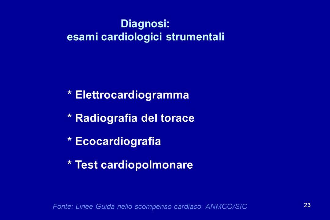 23 Diagnosi: esami cardiologici strumentali * Elettrocardiogramma * Radiografia del torace * Ecocardiografia * Test cardiopolmonare Fonte: Linee Guida